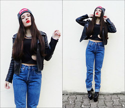 Inês Prates - Ostre Beanie ''Hipster'', Romwe Cut Out Top, Levi's® High Waisted Jeans, Unif Hellbound, Romwe Leather Jacket - SOMETIMES YOU GOTTA FALL BEFORE YOU FLY