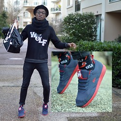 "Marc-Henri Ngandu - Nike Fourre Tout, Jennyfer Col Rond, New Look Chapeaux, Asos ""Wolf"", H&M Black Jeans Slim, New Look Hot & Spicy, Lacoste Sneakers - Hot & Spicy Black Wolf"