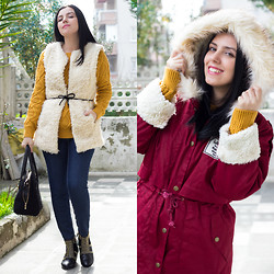 Emel Acar - Sheinside Fur Hooded Coat, Choies Studded Boots, Sheinside Woolen Vest, Romwe Mustard Colored Jumper - It's Cold Outside