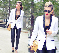 Maegan Tintari - Leeam White Ablazer With Leather Lapels, Bylangley Duffy Faux Leather Leggings - 24/7