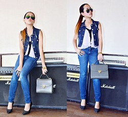 Dalz Salas - Denim Vest, Guess? Denim Jeans, Nine West Pointed Heels - Denim + Denim