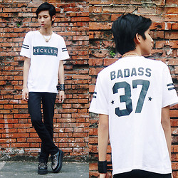 Lanz Paolo - Ballow Shirt, Topman Black Skinny, Androgyne Manila Creepers - Reckless 37