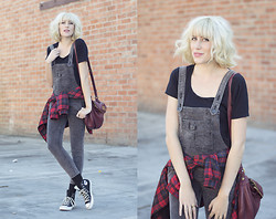 Dani Roxanne - Free People Chord Overalls, Marc By Jacobs Slochy Bag, Zara Plaid Comber, Converse Sneaks - Street Smart
