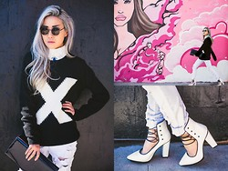 Eugénie Grey - Forever 21 X Sweater, Destroyed White Jeans, Forever 21 Crisscross Platforms, Black Staple Clutch - Third Eye
