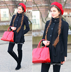 Ariadna M. - Frontrowshop Black Suede Knee High Boots, Arafeel Simple Red Bag, Asos Black Coat, Jedrzejko Red Beret - Red and black