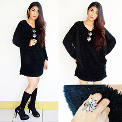 Marjh Collado - To Be A Princess Black Fake Wool Long Pullover, Thrifted Black Sequined Pumps - Out Cold