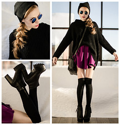 Tini Tani - Oasap Boots, H&M Hat, Choies Skirt, Zealotries Bag, Choies Sunglasses - Velvet skirt