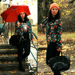 Teodora J. - Givenchy Bag, Choies Jacket, Frontrowshop Hat - Orange winter