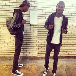 Donovan Mccollum - Black Leather Back Pack, Black Leather Cap, Urban Outfitters Black Leather Hoodie, Converse Black & White Lowtop, Marc By Jacobs All Black, Armani Exchange White T Shirt - Subway Surfing