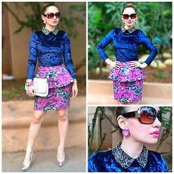 Stephanie Timmins - Aldo Sunglasses, Jollychic Velvet Top, Jollychic Floral Peplum Skirt, Tory Burch Clutch, Forever 21 Metallic Pumps, Feisty Fox Accessories Earrings - Blue Velvet & a Floral Peplum
