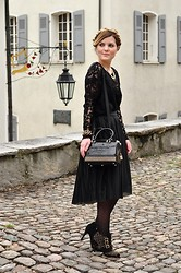 Aurélie Aline S - Vila Lace Shirt, Furla Studded Cookie, Vero Moda Midi Skirt, Blink Booties - Love is Gold