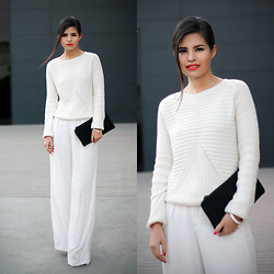 Adriana Gastélum - Choies Sweater, Zara Trousers, 3.1 Phillip Lim Neoprene Clutch, Make Up Tutorial For This Look - Simple total white