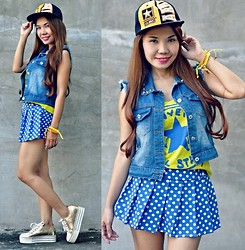 Julie Lozada - Random Shop Cap, Pink Fashion Denim Vest, Tee, Skort, Korean Shop Shoes - Snapback Swagger