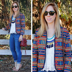 Melissa P. - Forever 21 Bomber Jacket, Rebecca Minkoff Swing Bag, Boohoo Bow Pumps, Warby Parker Quimby Sunglasses - Quilted and Colorful