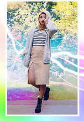 Dani Roche - Gap Shirt, Vintage Cardigan, Kastor & Pollux Skirt, Shellys London Shoes - Lucky Stripe