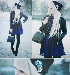Kerti P. - Vintage Brooches, Beanie, Choies Navy Lace Dress, Choies Quilted Jacket, Vintage 1950's Bag - Like frozen music.