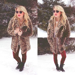 Whitney Paige - Nasty Gal Coat, O'hanlon Mills Sweater, Bdg Leggings, Target Combat Boots, Urban Outfitters Sunglasses - Snow Day