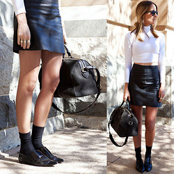 Oraclefox . - Eska Alakai Leather Skirt, Asos White Crop Top, 3.1 Phillip Lim Black Pointed Flats, Louis Vuitton Black Tote Bag - Common Knowledge