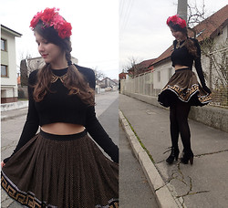 Patricia C. - Zara Crop Top, Asos Flower Crown, Versace For H&M Skirt - My Birthday Outfit