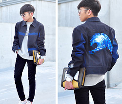 Mc kenneth Licon - Kenzo Wave Denim Jacket, Pierre Hardy Leather Cluth, Eoe Glasses Goldfinch Clear Sunglasses - Wave in Paris