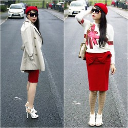 Eileen Qin - Asos White Heel, Asos Red Ribbon Skirt, Topshop Ribbon White Sweater, Burberry Beige Coat, Fashion Qin Red Cat Hat, Fashion Qin Cat Sunglasses - RED RIBBON CAT
