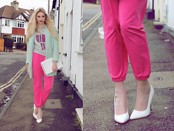 Laura Rogan - Sheinside Coat, Matalan Bag, Topshop Trousers, Missguided Shoes, House Of Holland Jumper - Pastel x Brights