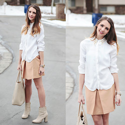 Madeline Becker - Zara Studded Button Up, Asos Skirt, H&M Booties - Sweet Studs