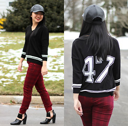 Christina Lau - Zara Sweater, Zara Pants, Forever 21 Heels, Target Faux Leather Cap - Athletic Vibes