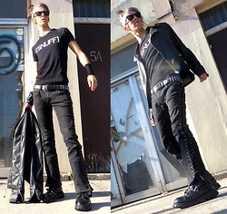 Pistachio Rugrain - [Snuff] Tee, Lip Service Side Lace Rocker, Tuk Black Leather 4 Buckle Screw Sole Boot - Dressed to Destroy