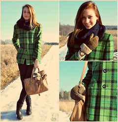 Magdalena - Kasper & A.S.L Jacket, Coat, Hollister & Co Scarf, Zara Shoes, Reserved Pants, Anne Klein Watch - Green Winter