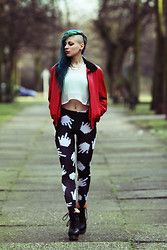 Alissa Verj - Asos Local Heroes Leggings, Jeffrey Campbell Back Off Boots, Weekday Mesh Crop Top - Local Heroes