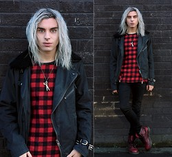 Milex X - Vateno Tartan Red Top, Missy Industry Sccissors Accessory, H&M Black Pants, Topman Black Jacket, Dr. Martens Red - Cause... remedy, I'm searchin' for the remedy