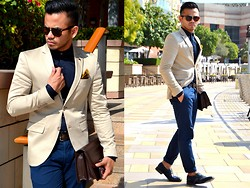 Paul Ramos - Iconic Beige Tailored Blazer, Iconic Slim Dress Shirt, Reiss Two Toned Color Pocket Square, Iconic Single Monk Strap Shoes - Iconic Fashion Different