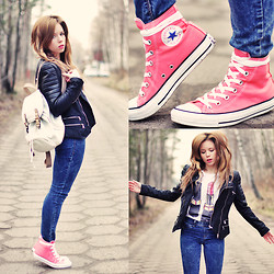 Wioletta Mary Kate - Converse Shoes, Yeah Bunny T Shirt, Chic Wish Jacket - Spring ?