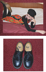 Flower Perdew - Dr. Martens Low Top, Uniqlo Black Turtleneck, Sun Thrift 90s Tribal Dress - Dancing Anymore