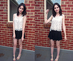 Hayley M - Sunny Girl Scallop Sequin Top, Black Milk Clothing Lace Shorties, Lipstick Cream Sandals - Daisy