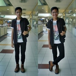 Christopher Regidor - Tee Culture Printed Shirt, Penshoppe Pants, Fred Perry Brown Boots - Bad to be good