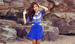 Anniepop Nguyen - Chic Wish Blue Frill Hem Lace Dress - Sandstone and Blues