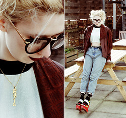 Kayla Hadlington - Bill And Mar Crop Top, Charity Shop Jacket, Charity Shop Jeans, Tbdress Shoes, Onecklace Necklace - KAYLA NECKLACE