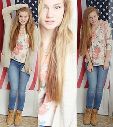 Katherine Roguska - Mango Shirt, Pull & Bear Cardigan, H&M Jeans, Timberland Boots - POWER OF FLOWERS.♥