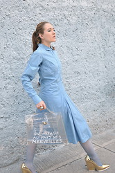 Lizzie Lo - Jil Sander Shirt Dress, Yves Saint Laurent Arty Ring, Hermës Kelly Bag, Céline Pumps - Blue