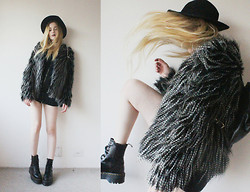 Jacqueline Illoz - Sheinside Fur Coat, Castro Dress, Dr. Martens Jadon Boots, Oasap Hat, Luz Da Lua Backpack - Mother, tell your children not to walk my way