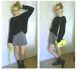 Sonya F - H&M Fuzzy Sweater, Forever 21 Polka Dot Skirt, Target Yellow Clutch W/Strap, Topshop Chelsea Boots - A Dash of Yellow