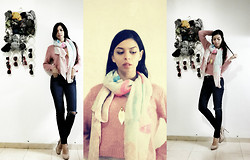 Yarden Levin - Forever 21 Scarf, Gold Necklace, H&M Pink Sweaters, Zara Blue Jeans, Aldo Nude Shoes - Pastel day