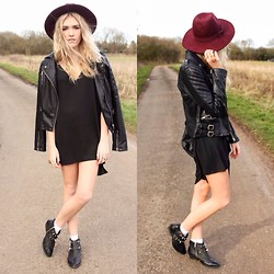 Charmaine Cowland - Primark Fedora, Topshop Boots, In Love With Fashion Fringed Dress, Topshop Leather Jacket - 09.02.14