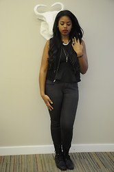 Simedar - Bcbg Vest, Bdg Coated Jeans, Marc By Jacobs Wishbone Necklace - Black Out