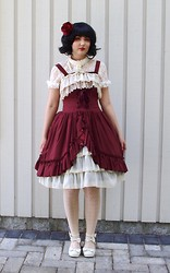 Denise Elliot S - Atelier Pierrot Red Bustle Dress, Angelic Pretty White Shoes - Rose red