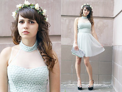 Alice Lovett - Nasty Gal Mint Prom Dress, Jeffrey Campbell Platform Wedges, Nasty Gal Silver Clutch, Diy Flower Crown - Like vines we intertwined {prom}