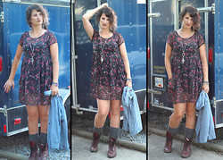 Mary Craig - Merona Chambray Blue Denim Shirt, Dr. Martens Doc Burg 14 Hole, Band Of Gypsies Floral Grunge Dress, Clutch Jewels Cool Necklace - Grunge Glam - New Video StyleSista.ca!!