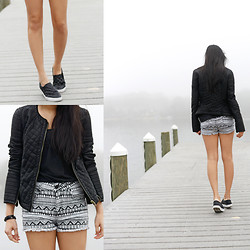 "Trang Huyen - Zara Quilt Jacket, Pacsun Bullhead ""Tribal"" Shorts, H&M Slip On Sneakers - Into the Mist"